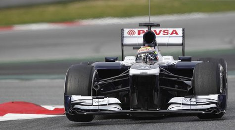 Williams Formula One driver Pastor Maldonado of Venezuela takes a curve during a training session at the Circuit de Catalunya racetrack in M