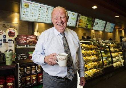 Tim Hortons Inc interim Chief Executive Paul House poses for a portrait at a Tim Hortons coffee shop in Toronto July 12, 2012. REUTERS/Mark