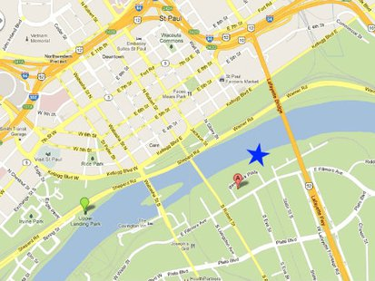 St Paul MN location where Kira Steger Trevino's body was found (blue star).  Map courtesy Google.