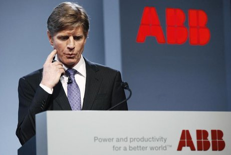 ABB's Chief Executive Officer Joe Hogan gestures while attending the company's annual news conference in Zurich February 14, 2013. REUTERS/M