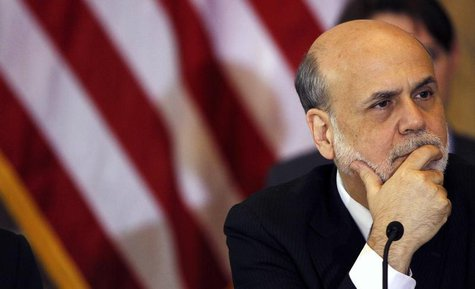 Chairman of the Federal Reserve Bank Ben Bernanke attends the Treasury Department's Financial Stability Oversight Council in Washington Apri