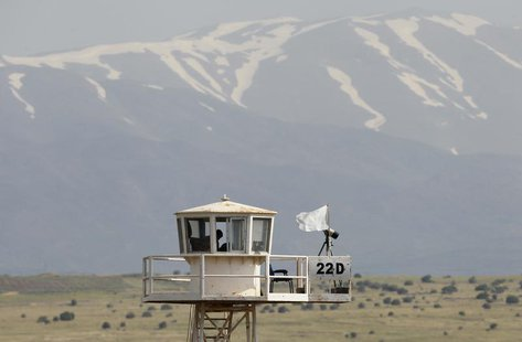 A United Nations observation tower overlooking Syria is seen near the Kuneitra border crossing between Israel and Syria, on the Israeli-occu