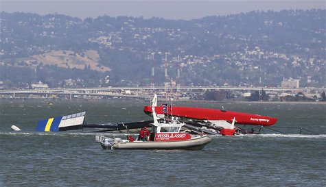 The Artemis Racing yacht is towed to shore after capsizing in the San Francisco Bay, May 9, 2013. REUTERS/Jed Jacobsohn