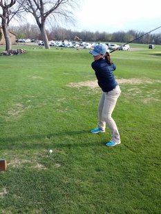 Claire Jansa tees off at the first Sioux Falls Girls Golf City Tournament.  Photo: KELO/KELQ