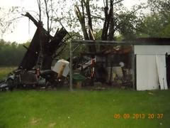 shed destroyed by Thursday night storm near Riley. photo supplied by Riley Fire Dept.