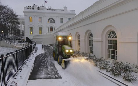 File Photo - The White House walkway along the West Wing is cleared of fresh snow which fell overnight in the Washington region January 24,