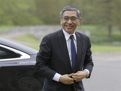 Bank of Japan Governor Haruhiko Kuroda arrives at the G7 Finance Ministers meeting in Aylesbury, southern England May 10, 2013. REUTERS/Alas