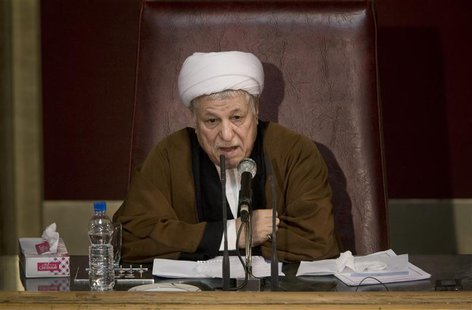 Akbar Hashemi Rafsanjani, head of Iran's Assembly of Experts, speaks during the 7th session of the Assembly in Tehran February 23, 2010. REU
