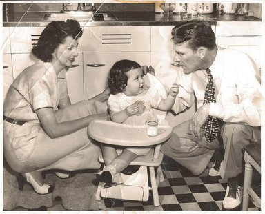 Baseball player Fritz Ostermueller is pictured with his wife Faye and daughter in this 1948 family photo released to Reuters by his daughter
