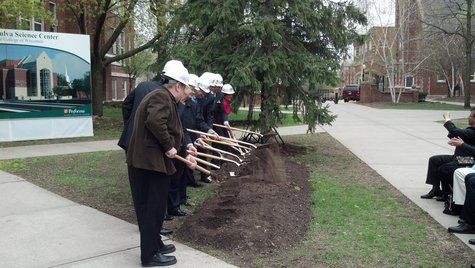 Groundbreaking ceremony outside the site of the Gehl-Mulva Science Center on the St. Norbert College campus on May 10, 2013.