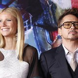 "Cast members Robert Downey Jr. and Gwyneth Paltrow pose at the premiere of ""Iron Man 3"" at El Capitan theatre in Hollywood, California April"