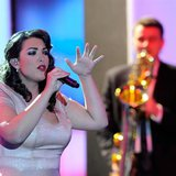 "Dutch singer Caro Emerald performs after being awarded in category ""Best International Music Artist"" during the 47th Golden Camera award cer"
