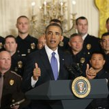 U.S. President Barack Obama honors the 2013 National Association of Police Organizations (NAPO) TOP COPS award winners at the White House in