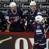 Team USA's Stephen Gionta (11) celebrates his goal against Germany with his teammates on the bench during their 2013 IIHF Ice Hockey World C