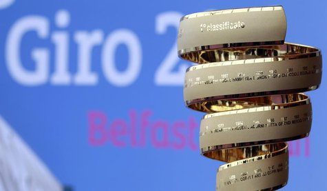 The Giro d'Italia trophy is seen on display at the Titanic Centre in Belfast February 21, 2013. The 2014 Giro d'Italia will start in Belfast