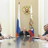 Russian President Vladimir Putin (C) attends a meeting of the Security Council in Moscow's Kremlin May 8, 2013. Picture taken May 8, 2013. R