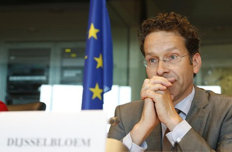 Eurogroup chairman Jeroen Dijsselbloem waits to address the European Parliament's Economic and Monetary Affairs committee to discuss the way