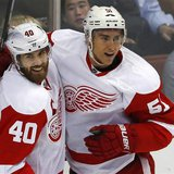 Detroit Red Wings center Henrik Zetterberg (40) celebrates his first period goal against the Anaheim Ducks with his teammate Valtteri Filppu