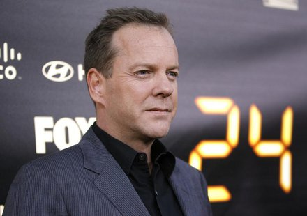 "Cast member Kiefer Sutherland poses at the party for the television series finale of ""24"" in Los Angeles April 30, 2010. REUTERS/Mario Anzuo"