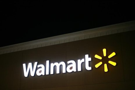 A view shows the Walmart logo at an opened Walmart store on Thanksgiving day in North Bergan, New Jersey November 22, 2012. REUTERS/Eric Tha