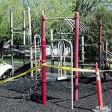 Burned playground equipment is seen at Hamilton Park in Fond du Lac, May 13, 2013. Police say the fire was set intentionally the previous night. (courtesy of FOX 11).