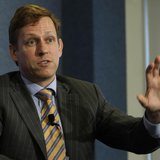"Peter Thiel, entrepreneur and co-founder of PayPal, speaks during a news conference on ""nonprofit, nonpartisan organization dedicated to eco"