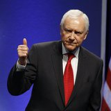 Sen. Orrin Hatch (R-UT) gestures after speaking to an audience at the 38th annual Conservative Political Action Conference meeting at the Ma