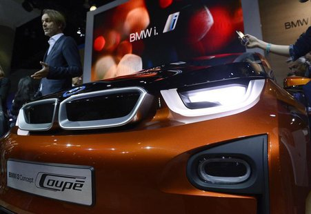 The BMW i3 concept car is displayed during a news conference at the 2012 Los Angeles Auto Show in Los Angeles, California November 28, 2012.