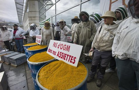 French beekeepers demonstrate to protest the use of genetically-modified organisms in front of French Monsanto headquarters in Bron, near Ly