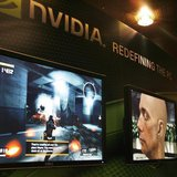 A sales man demonstrates a computer game in a display area of Nvidia Corp. during the second day of the annual 2007 Computex Taipei June 6,