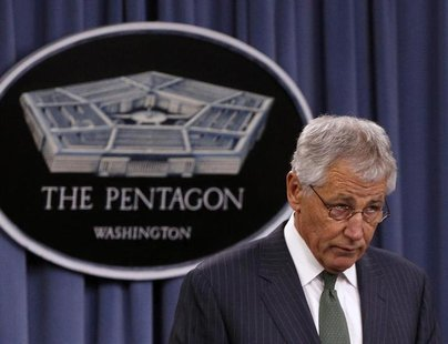 U.S. Defense Secretary Chuck Hagel and British Defense Secretary Philip Hammond (not pictured) hold a joint news conference at the Pentagon