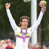 Silver medalist Rigoberto Uran of Colombia celebrates during the victory ceremony after the men's cycling road race at the London 2012 Olymp