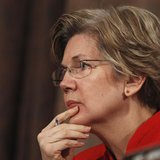 Senator Elizabeth Warren (D-MA) listens to answers during a testimony while sitting on the Senate Banking, Housing and Urban Affairs Committ