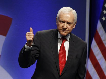 U.S. Sen. Orrin Hatch (R-UT) gestures after speaking to an audience at the 38th annual Conservative Political Action Conference meeting at t