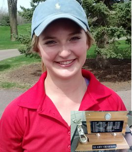 Abbie Grevlos came back from 12 strokes down to win the City Golf Tournament.  Inset, Sioux Falls City Championship Trophy. Photo: KELO/KELQ