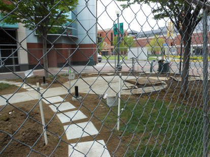 Construction of the Eric Zapata Community Memorial has begun on the Kalamazoo Mall.