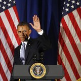 U.S. President Barack Obama waves as he steps off stage after speaking at a Democratic Party fundraiser at the Waldorf Astoria hotel in New