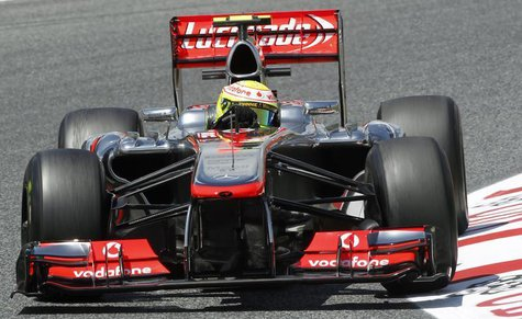 McLaren Formula One driver Sergio Perez of Mexico drives during the second practice session of the Spanish F1 Grand Prix at the Circuit de C