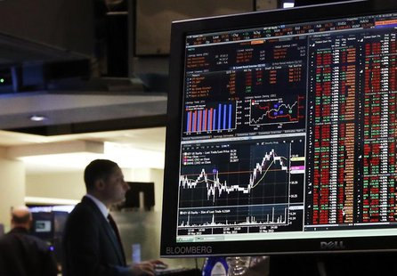 A Bloomberg terminal displays news while traders work on the floor of the New York Stock Exchange, May 13, 2013. REUTERS/Brendan McDermid