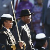Nigerian President Goodluck Jonathan inspects the guard of honour outside the Parliament in Cape Town, May 7, 2013. REUTERS/Mike Hutchings