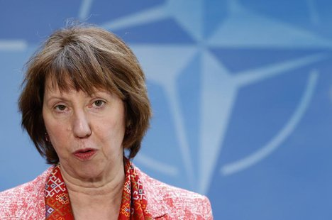 European Union foreign policy chief Catherine Ashton arrives at NATO headquarters after meeting Kosovo's Prime Minister Hashim Thaci (not pi