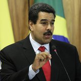Venezuela's President Nicolas Maduro delivers a statement to the media with Brazil's President Dilma Rousseff at the Planalto Palace in Bras