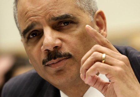 "U.S. Attorney General Eric Holder testifies before a House Judiciary Committee hearing on ""Oversight of the United States Department of Just"