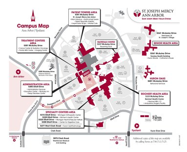 A map shows the campus of St. Joseph Mercy Ann Arbor.