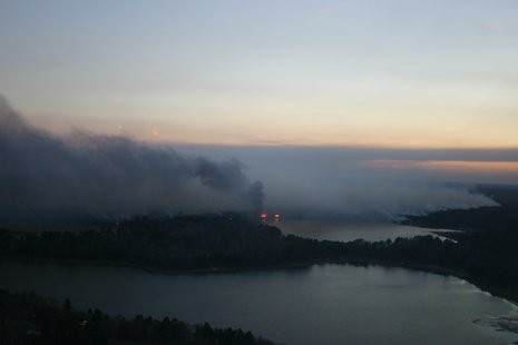 Wildfire in northern Wisconsin.  Photo courtesy WI DNR.