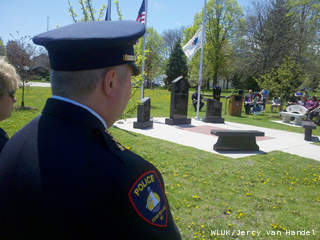 Fond du Lac police hold a memorial ceremony for fallen officers May 15, 2013, at the Hamilton Park Public Safety Memorial Site. (courtesy of FOX 11).