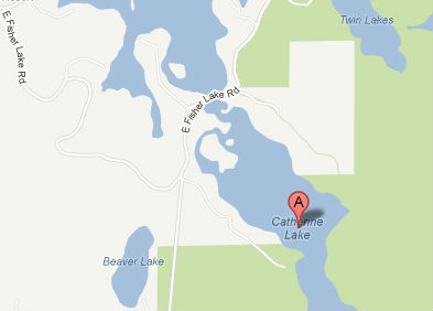 Catherine Lake area east of Mercer, WI where a wildfire has consumed thousands of acres of forest.  Map courtesy Google.