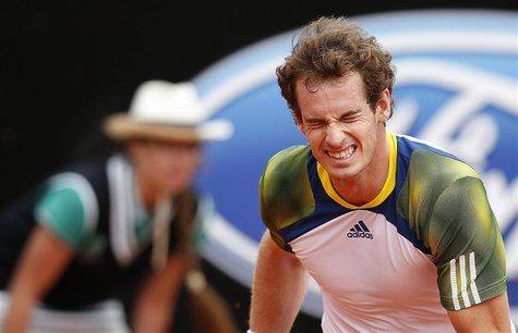 Andy Murray of Britain reacts during the men's singles match against Marcel Granollers of Spain at the Rome Masters tennis tournament May 15