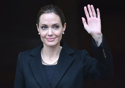 U.S. actress and humanitarian campaigner Angelina Jolie leaves a G8 Foreign Ministers Meeting in London in this April 11, 2013 file photo. R