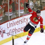 Chicago Blackhawks center Patrick Sharp (10) celebrates his empty net goal against the Detroit Red Wings to clinch Game 1 of their NHL Weste